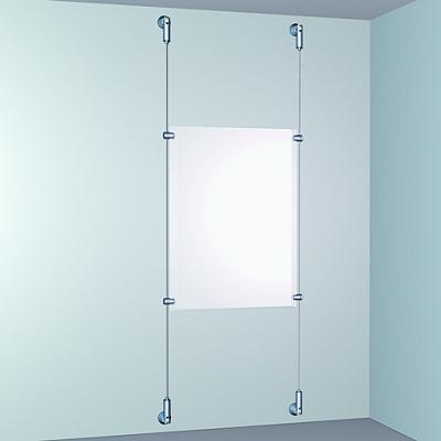 porte affiche plexi monté sur câble nylon ou acier fixation mur mur réf art*7820400