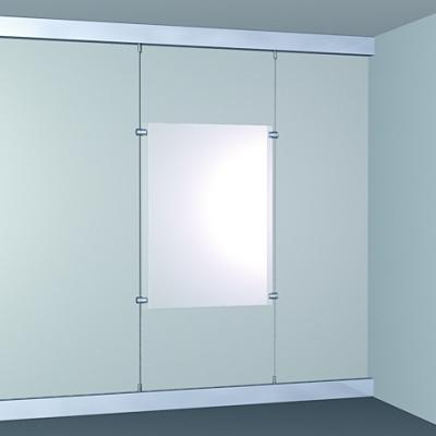porte affiche plexi monté sur câble acier ou nylon, rail cick rail en haut réf art*94303