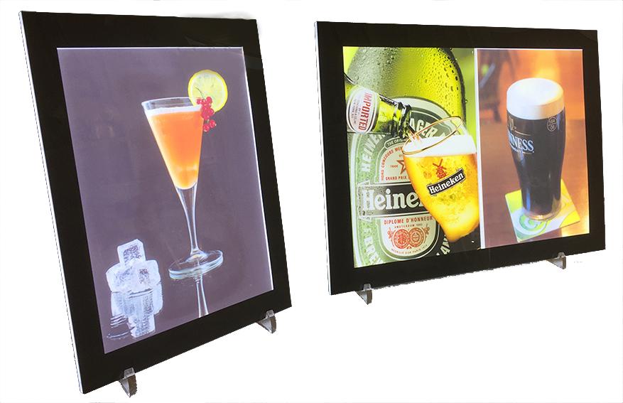 porte affiche lumineux à led version comptoir disponibles aux formats A4 et A3 portrait ou paysage